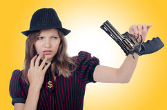 Woman gangster isolated Royalty Free Stock Photos
