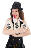 Woman gangster with money sacks Stock Image