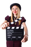 Woman gangster with movie board Stock Photo
