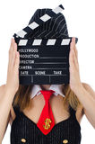 Woman gangster. With movie board on white Royalty Free Stock Image