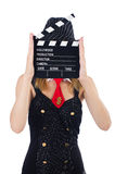 Woman gangster. With movie board on white Royalty Free Stock Images