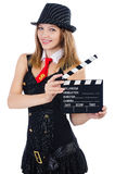 Woman gangster. With movie board on white Stock Images