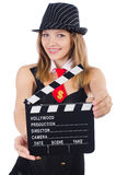 Woman gangster with movie board Royalty Free Stock Image