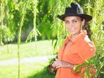Woman at garden Stock Photos