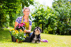 Woman in garden with flowers Stock Image