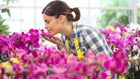 Woman in the garden of flowers, touches an orchid and smiling