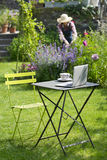 Woman in a garden, focus on cup of tea and laptop foreground Stock Images