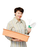 Woman with garden tools Stock Image