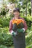Woman in the garden Stock Photos