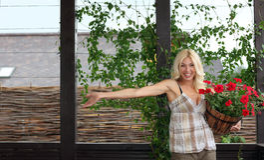 The woman gardener Stock Photo