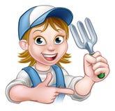 Woman Gardener Cartoon Character Stock Images
