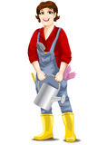 Woman gardener character cartoon style  illustration white Royalty Free Stock Photo