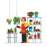 Woman gardener working in botanical garden stock illustration