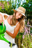 Woman gardener watering flowers in garden Royalty Free Stock Images