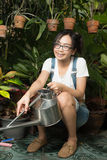 Woman gardening equipment Stock Image