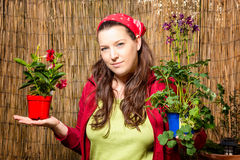 Woman in gardening holding two flower pots Stock Photo