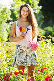 Woman gardening with roses Stock Image