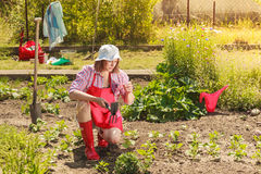 Woman with gardening tool working in garden Royalty Free Stock Photos