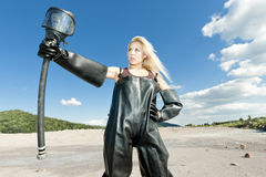 Woman with gas mask Stock Image