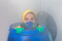 Woman in gas mask Stock Photo