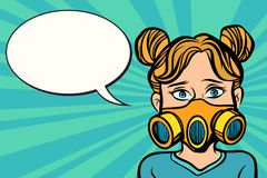 Woman in a gas mask. Ecology, air purity and allergy. Comic cartoon pop art retro vector vintage illustration Royalty Free Stock Photos