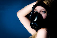 Woman in gasmask Stock Photography