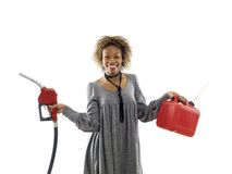 Woman with gasoline Royalty Free Stock Photography