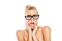 Woman gasping in shock Royalty Free Stock Image