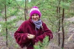 Woman gathers mushrooms among the pines.  royalty free stock photos
