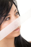 Woman with Gauze portrait Stock Image