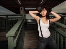 Woman on a gazebo Stock Photos