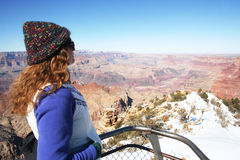 A Woman Gazes at the Grand Canyon Stock Images
