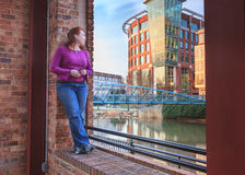 Woman Gazing at Greenville South Carolina SC Stock Images