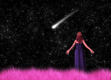 Woman Gazing Shooting Stars Illustration. A lady gazing shooting star in the open field Royalty Free Stock Photo