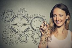 Woman with gear mechanism. Happy smiling creative woman drawing with pen  gear mechanism Royalty Free Stock Image