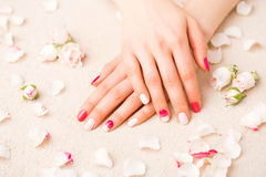 Woman with gel nail polish Stock Photography