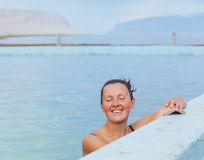 Woman in geothermal spring Royalty Free Stock Photo