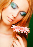 Woman with gerber flower Stock Photo
