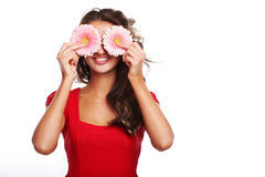 Woman and gerbera Royalty Free Stock Photography