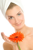 Woman with gerbera flower Stock Images