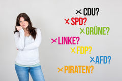 Woman with german parties for german federal election 2017. Young woman next to various german parties for german federal election 2017 Stock Images