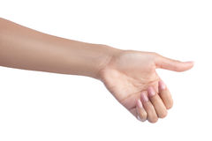 Woman gesture hand holding object Royalty Free Stock Images