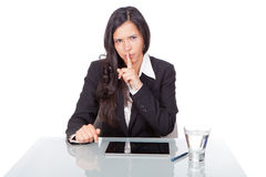 Woman with gesture of silence. Business woman with gesture of silence Royalty Free Stock Photos