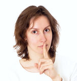 Woman gesture silence isolated Stock Photos