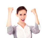 Woman gesture success isolated white Royalty Free Stock Photos