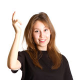 Woman gesture voila isolated Royalty Free Stock Image