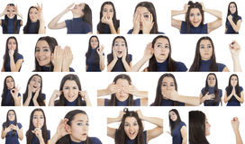 Woman gestures collage. Woman doing different gestures collage isolated on white background royalty free stock image