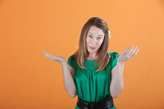 Woman Gestures She Doesn't Know Royalty Free Stock Images