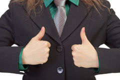 Woman gestures shows us success Royalty Free Stock Photo