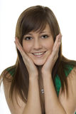 Woman with gestures surprise. Two hands in front of the face Royalty Free Stock Photography